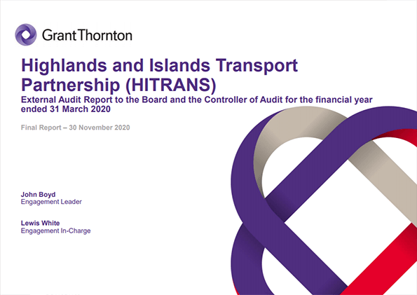 Report cover: Highlands and Islands Transport Partnership annual audit 2019/20