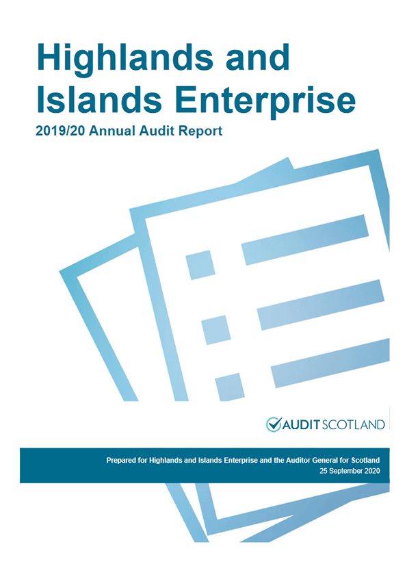 Report cover: Highlands and Islands Enterprise annual audit 2019/20