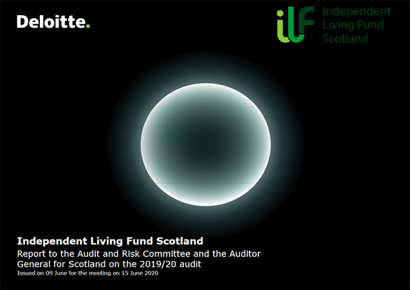 Report cover: Independent Living Fund annual audit 2019/20