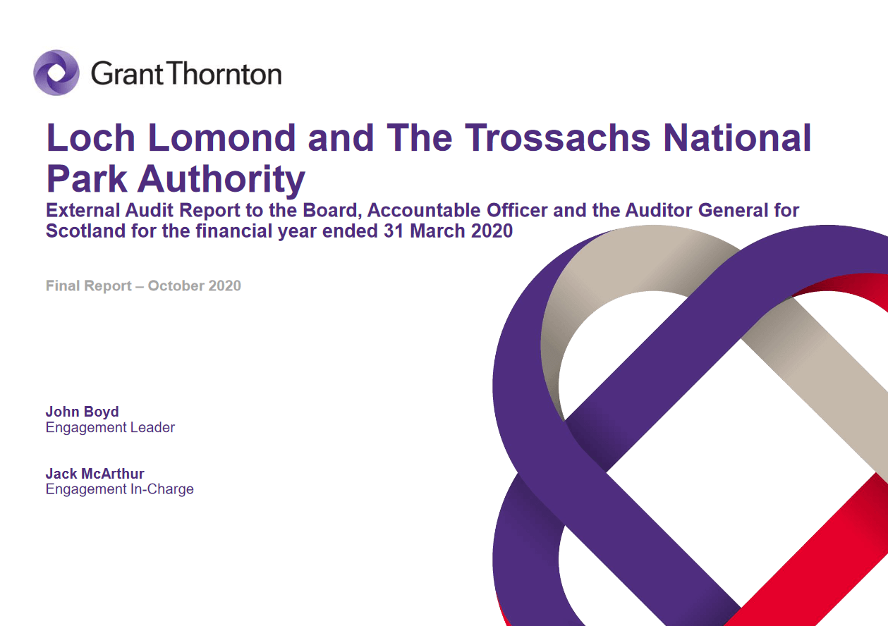 Report cover: Loch Lomond and the Trossachs National Park Authority annual audit 2019/20