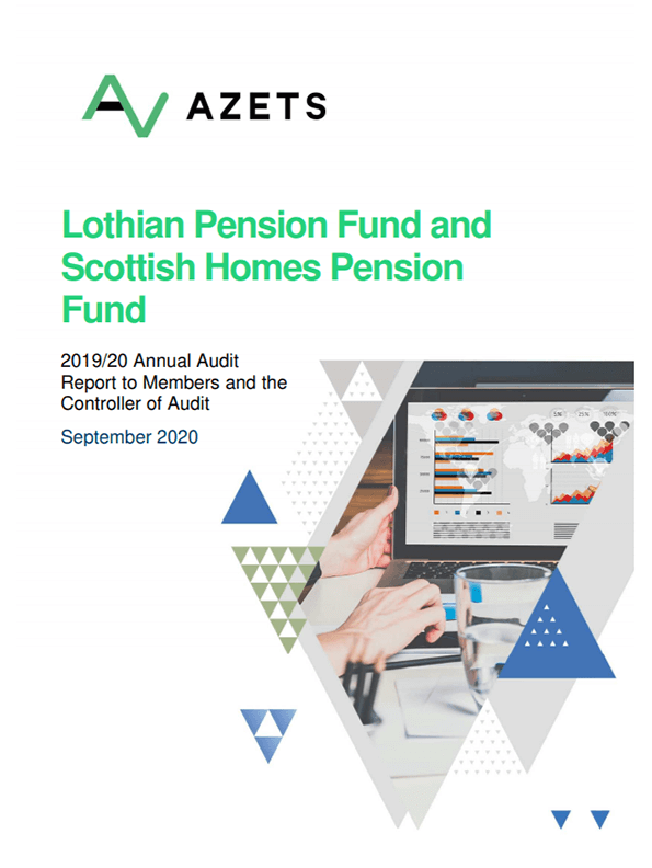 Report cover: Lothian Pension Funds annual audit 2019/20