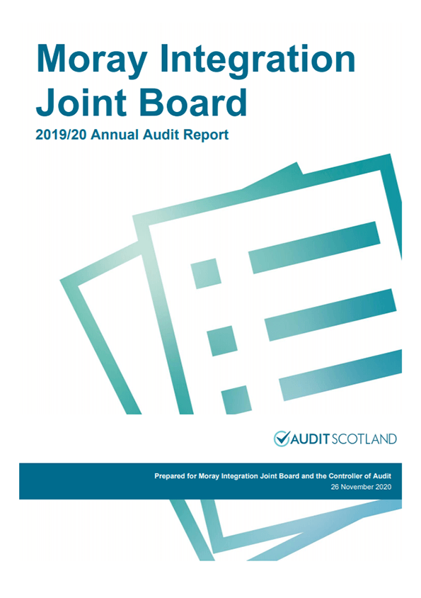 Report cover: Moray Integration Joint Board annual audit 2019/20