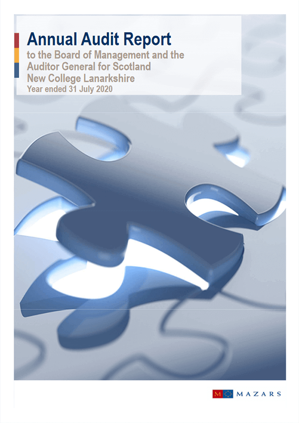 Report cover: New College Lanarkshire annual audit 2019/20