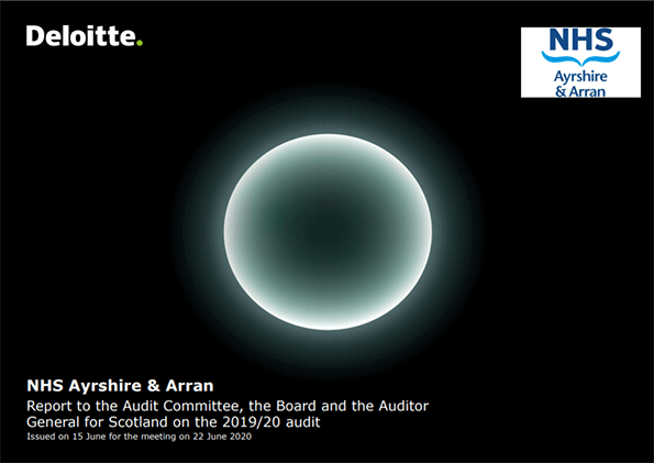 Report cover: NHS Ayrshire and Arran annual audit report 2019/20