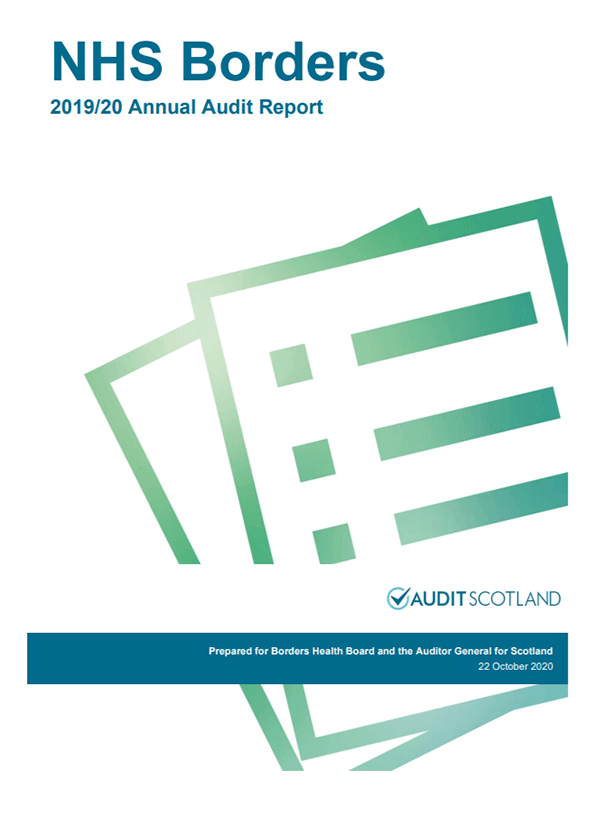 Report cover: NHS Borders annual audit report 2019/20