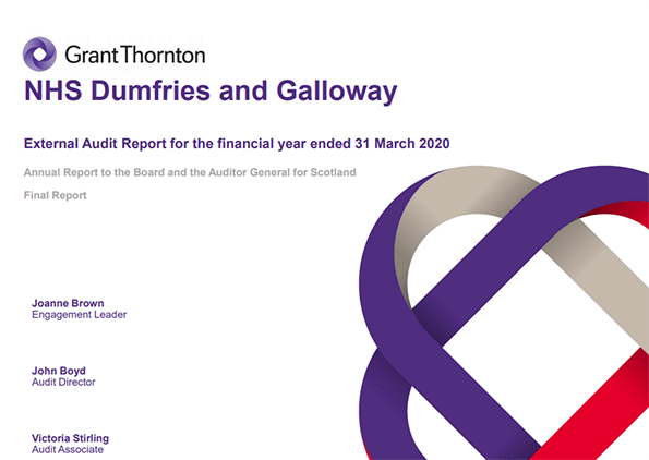 Report cover: NHS Dumfries and Galloway annual audit report 2019/20