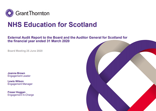 Report cover: NHS Education for Scotland annual audit report 2019/20