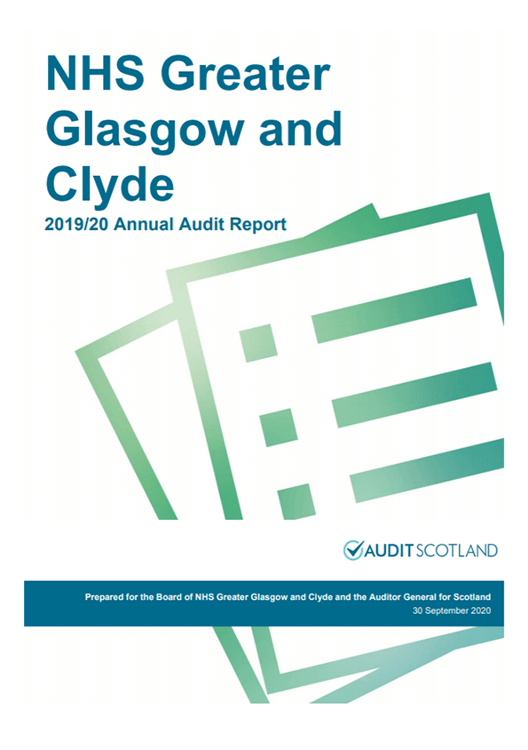 Report cover: NHS Greater Glasgow and Clyde annual audit report 2019/20