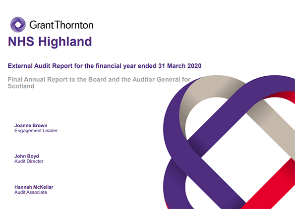 Report cover: NHS Highland annual audit report 2019/20