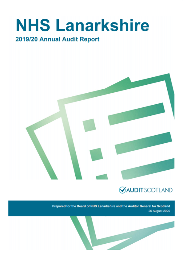 Report cover: NHS Lanarkshire annual audit report 2019/20