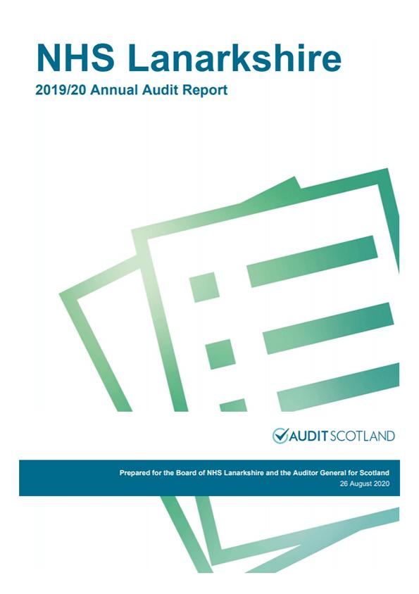 Report cover: NHS Lanarkshire annual audit report 2019/20