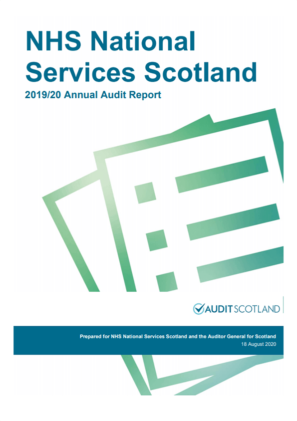 Report cover: NHS National Services Scotland annual audit report 2019/20