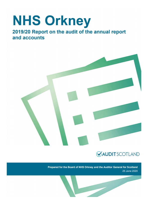 Report cover: NHS Orkney annual audit report 2019/20