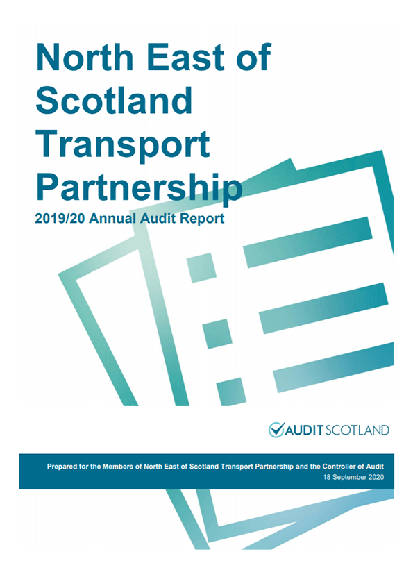 Report cover: North East of Scotland Transport Partnership annual audit 2019/20