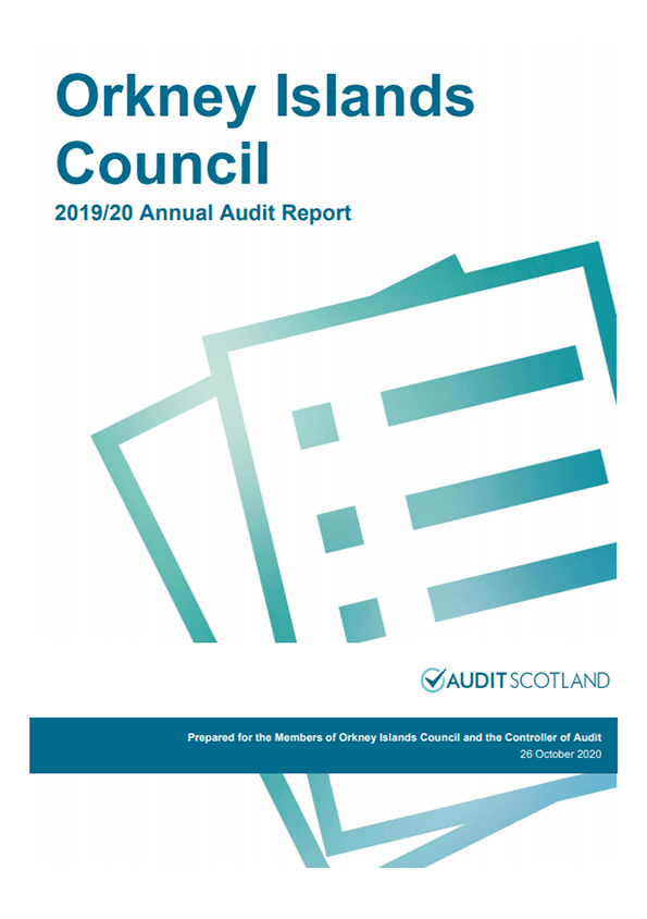 Report cover: Orkney Islands Council Pension Fund annual audit 2019/20