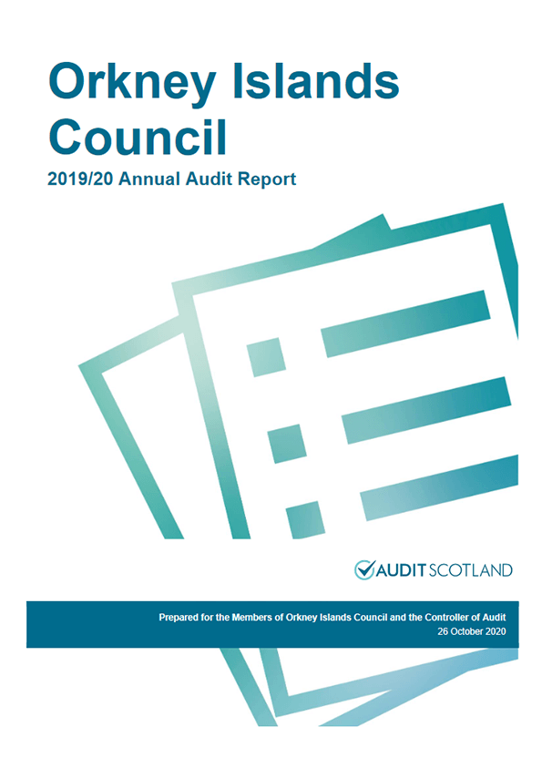 Report cover: Orkney Islands Council annual audit 2019/20