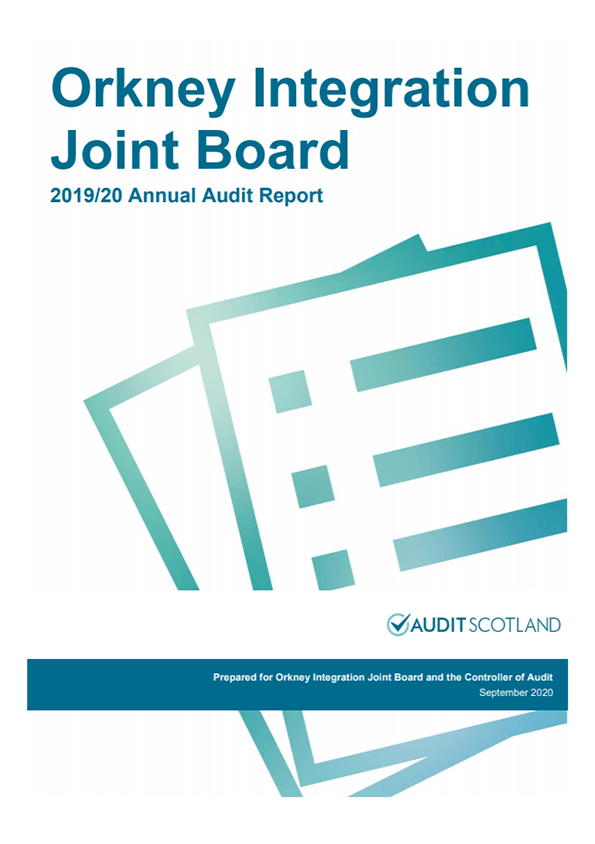 Report cover: Orkney Integration Joint Board annual audit 2019/20