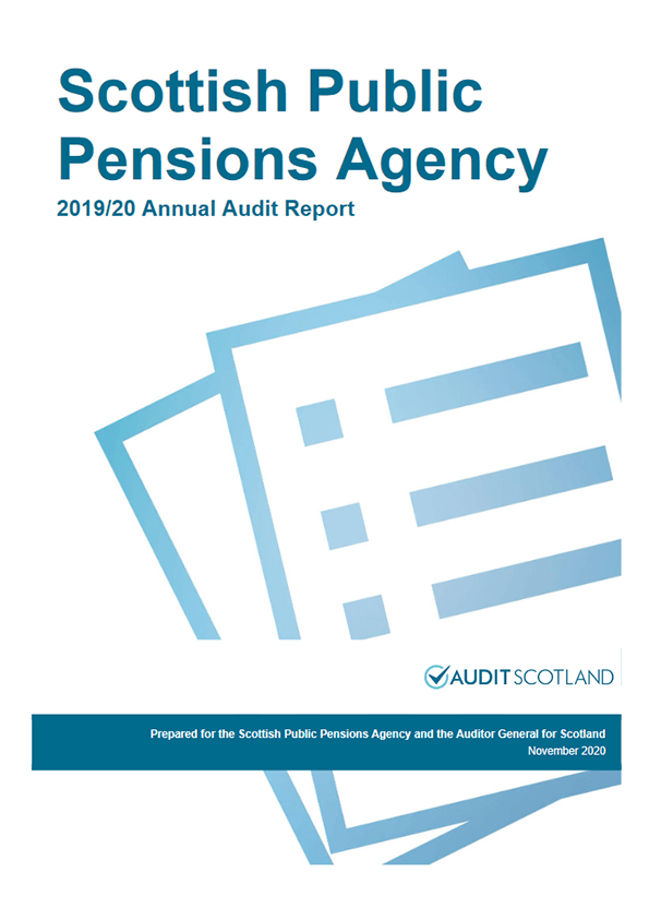 Report cover: Scottish Public Pensions Agency  annual audit 2019/20