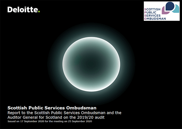 Report cover: Scottish Public Services Ombudsman annual audit 2019/20