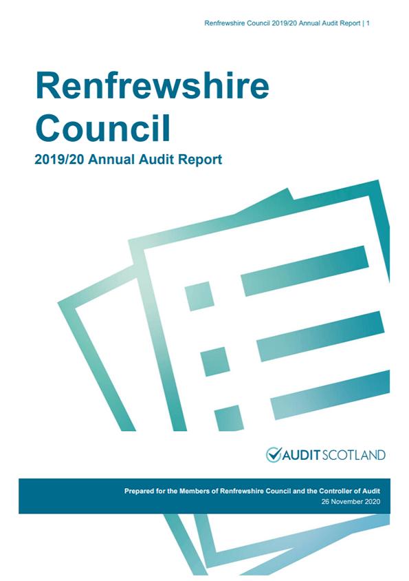 Report cover: Renfrewshire Council annual audit 2019/20