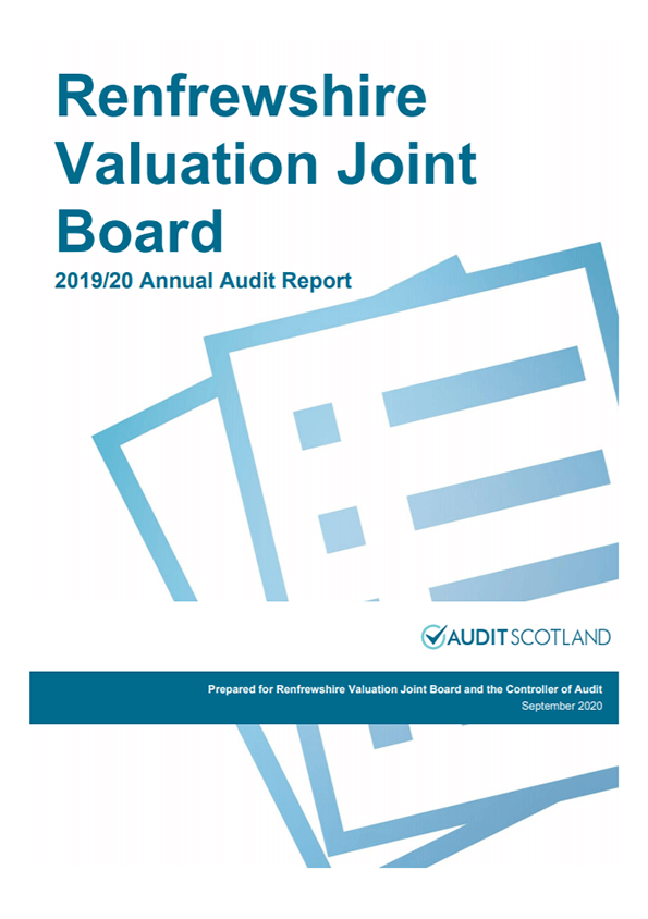 Report cover: Renfrewshire Valuation Joint Board annual audit 2019/20