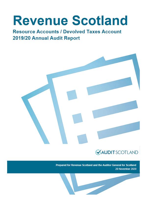 Report cover: Revenue Scotland annual audit 2019/20