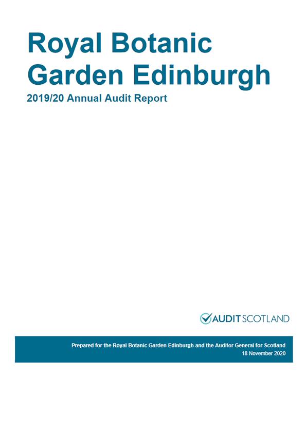 Report cover: Royal Botanic Garden Edinburgh annual audit 2019/20