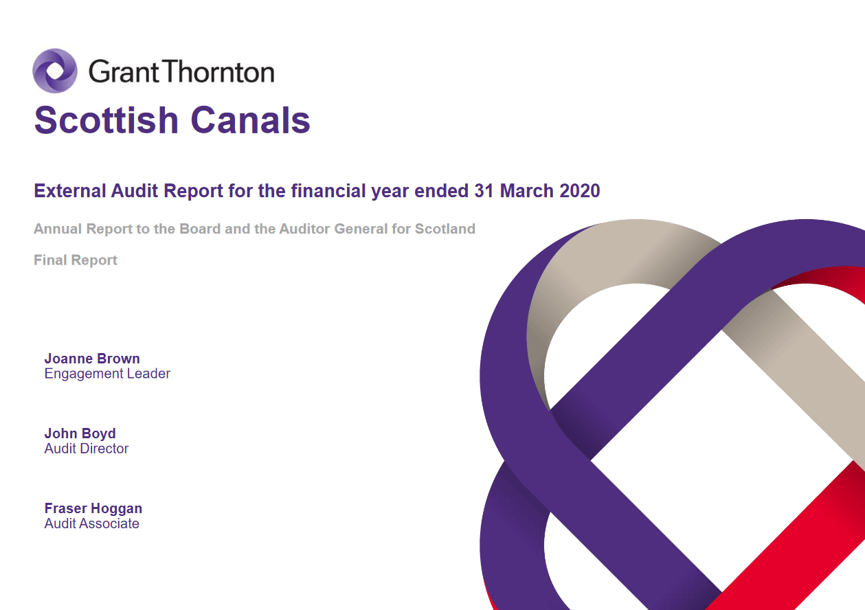 Report cover: Scottish Canals  annual audit 2019/20