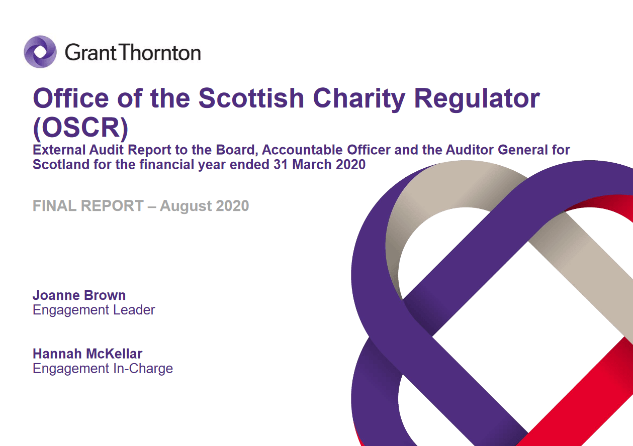 Report cover: Office of the Scottish Charity Regulator annual audit 2019/20