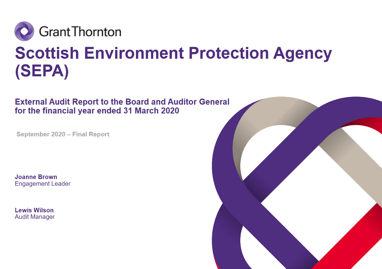 Report cover: Scottish Environment Protection Agency annual audit 2019/20