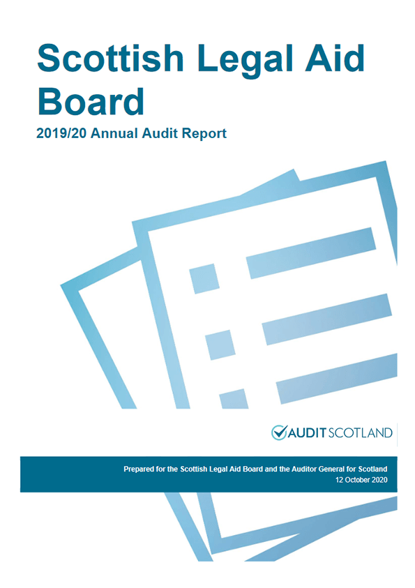 Report cover: Scottish Legal Aid Board annual audit 2019/20