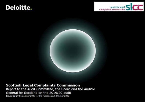 Report cover: Scottish Legal Complaints Commission annual audit 2019/20