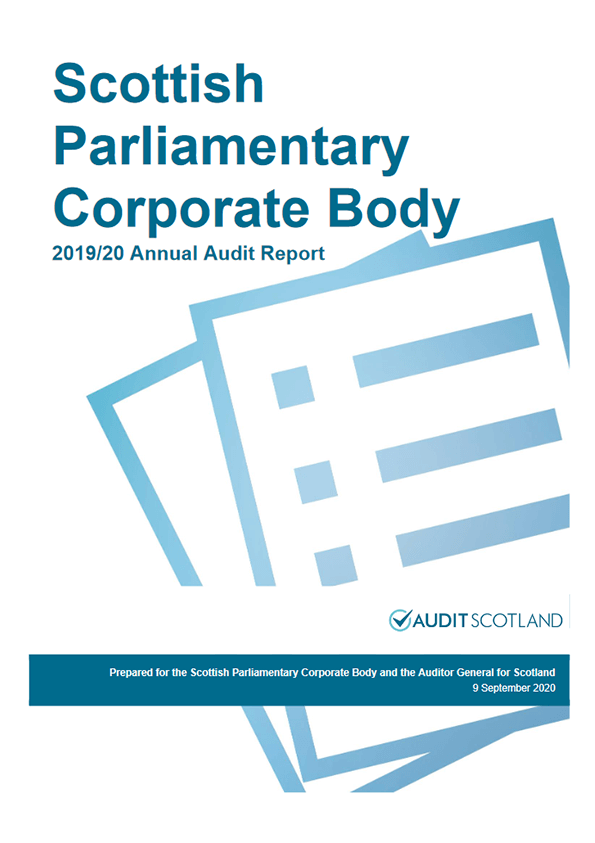 Report cover: Scottish Parliamentary Corporate Body annual audit 2019/20