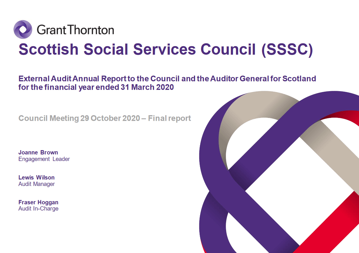 Report cover: Scottish Social Services Council annual audit 2019/20