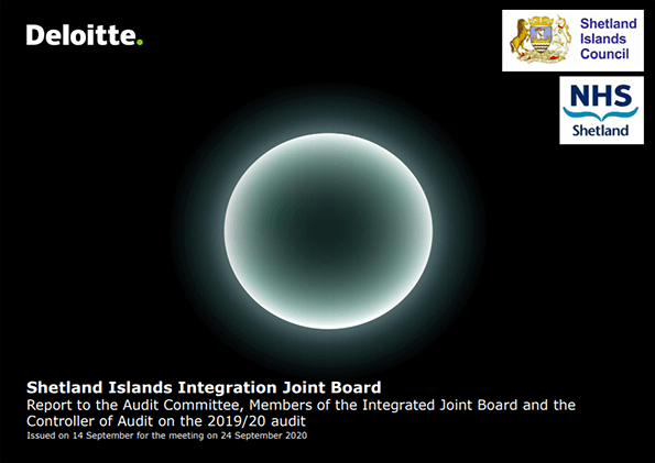 Report cover: Shetland Islands Integration Joint Board annual audit 2019/20