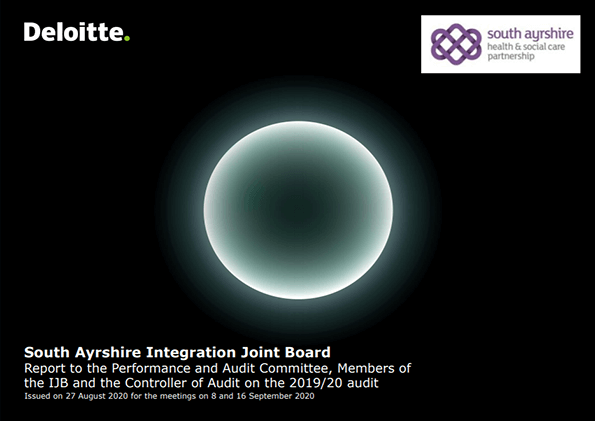 Report cover: South Ayrshire Integration Joint Board annual audit 2019/20