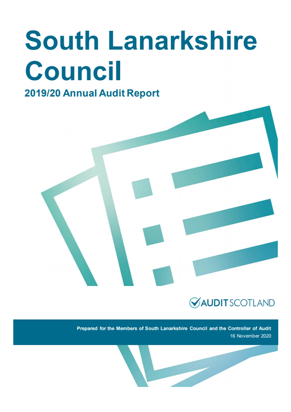 Report cover: South Lanarkshire Council annual audit 2019/20