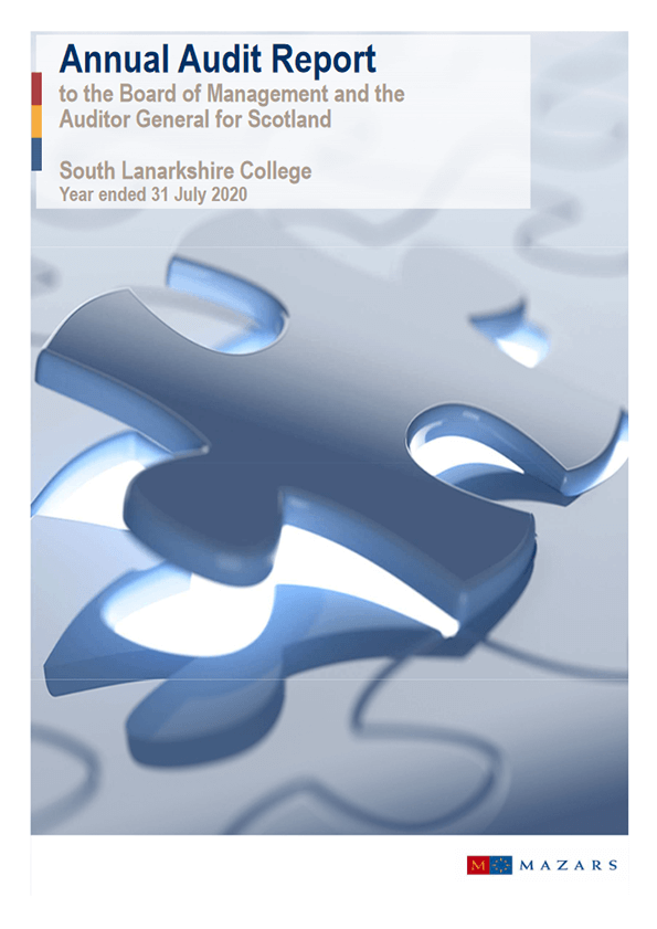 Report cover: South Lanarkshire College annual audit 2019/20