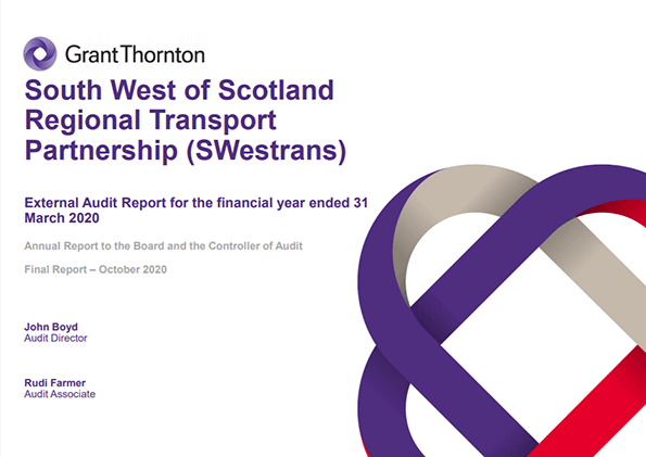 Report cover: South West of Scotland Transport Partnership annual audit 2019/20