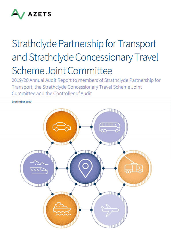 Report cover: Strathclyde Partnership for Transport and Strathclyde Concessionary Travel Scheme Joint Committee annual audit 2019/20