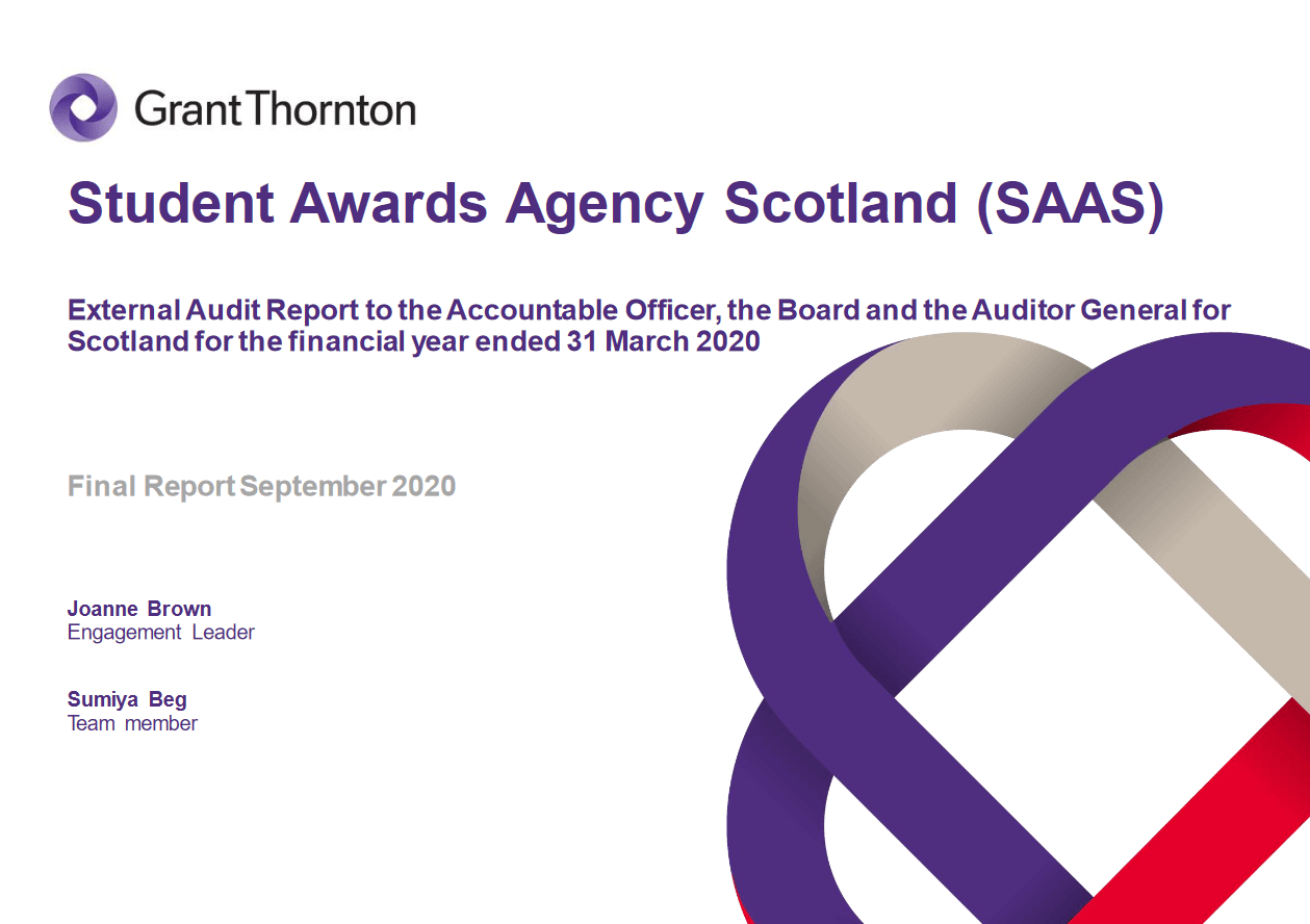 Report cover: Student Awards Agency for Scotland annual audit 2019/20