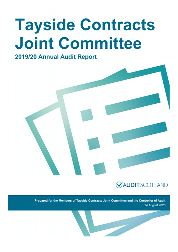 Report cover: Tayside Contracts Joint Committee annual audit 2019/20