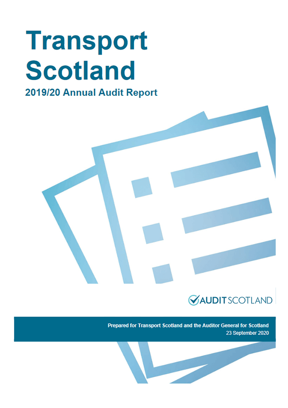 Report cover: Transport Scotland annual audit 2019/20