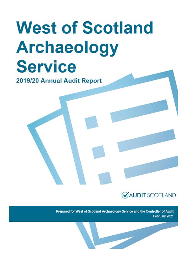 Report cover: West of Scotland Archaeology Service annual audit 2019/20
