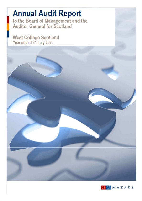 Report cover: West College annual audit 2019/20