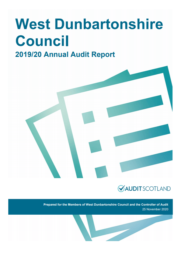 Report cover: West Dunbartonshire Council annual audit 2019/20