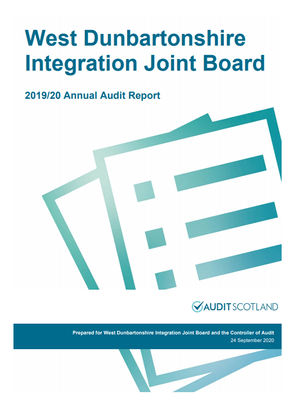 Report cover: West Dunbartonshire Integration Joint Board annual audit 2019/20