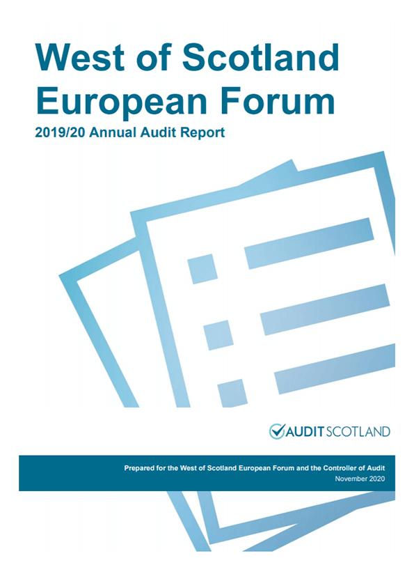 Report cover: West of Scotland European Forum annual audit 2019/20