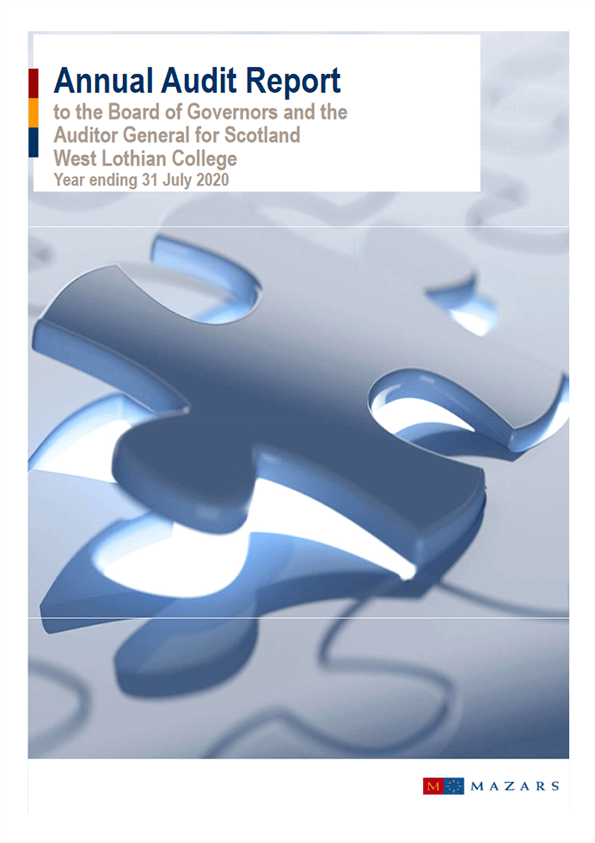 Report cover: West Lothian College annual audit 2019/20