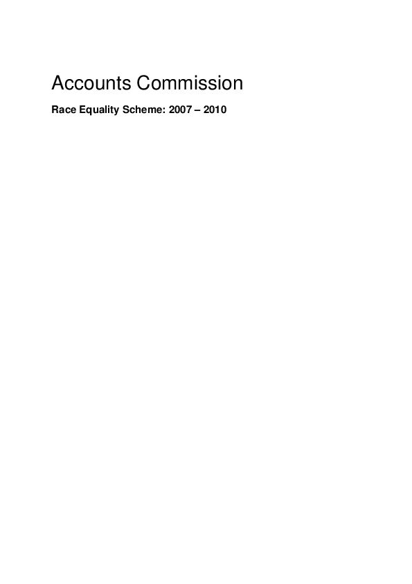 Report cover: Accounts Commission Race Equality Scheme 2007 - 2010